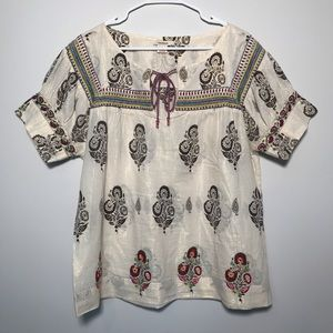 Sundance Embroidered Beaded Peasant Blouse Large